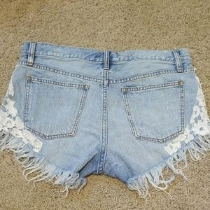 Free People Shorts - FP We the Free Lace Crochet Jean Shorts 28